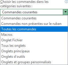 Plus de commandes dans Options Excel 2016