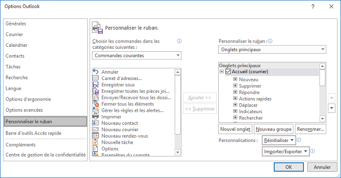Personnaliser le ruban dans Options Outlook 2016