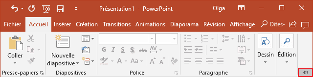 Le bouton Attacher le ruban dans PowerPoint 2016