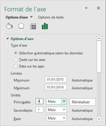 Options de l'axe Excel 2016