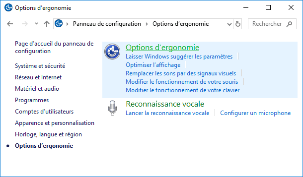 Options d'ergonomie 2 Windows 10
