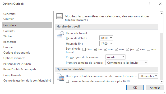 Calendrier Options Outlook 2016