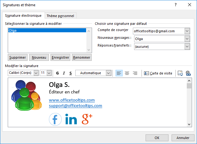 Hypertexte En Signature Outlook 2016 Modifier Sa Carte De Visite