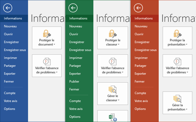 Informations dans Office 2016