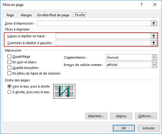 Imprimer Des En Tetes De Colonnes Ou Des Etiquettes De Feuille De Calcul Sur Chaque Page Microsoft Excel 2016