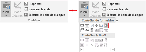 Cases d'option dans Excel 2016