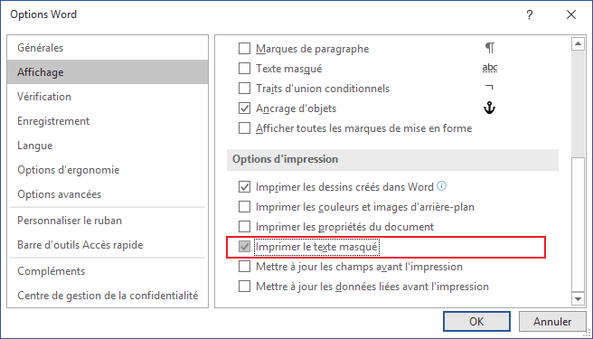 La boîte de dialogue Options Word 2016