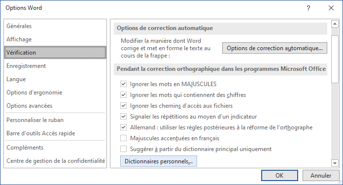 Le bouton Dictionnaires personnels dans Options Word 365