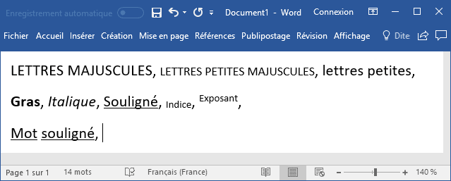 Raccourcis claviers utiles pour le formatage des polices Word 2016