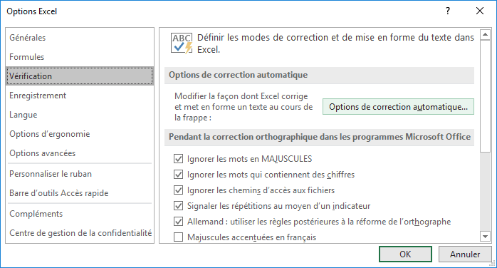 Options de correction automatique dans Options Excel 2016