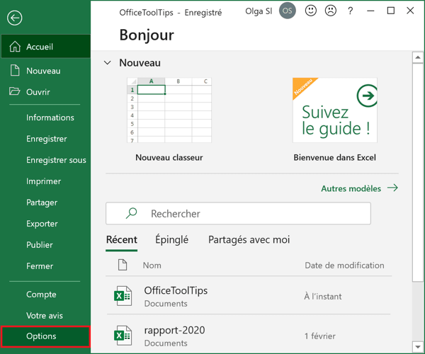 Options dans Excel 365