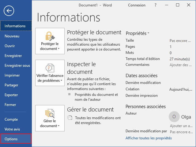 Options dans Word 2016