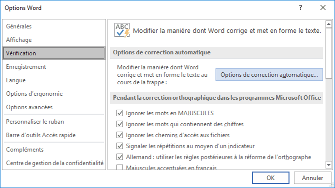 Options de correction automatique dans Word 2016