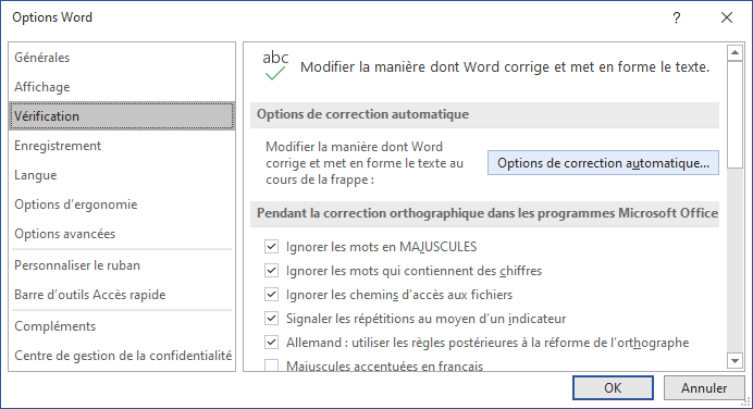 Options de correction automatique dans Word 365