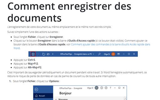 Comment enregistrer des documents