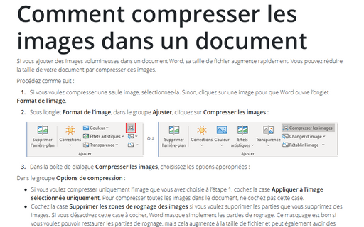 Comment compresser les images dans un document