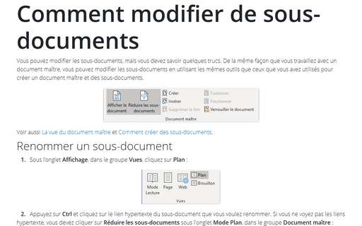 Comment modifier de sous-documents