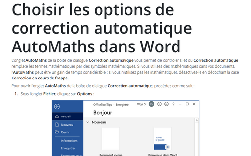 Choisir les options de correction automatique AutoMaths dans Word