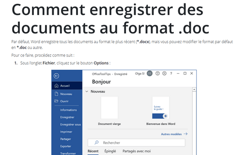 Comment enregistrer des documents au format .doc