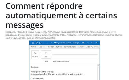 comment cr u00e9er une r u00e9ponse automatique d u0026 39 absence du bureau