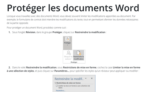 Protéger les documents Word