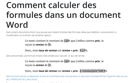 Comment calculer des formules dans un document Word