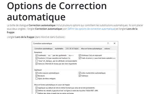 Options de Correction automatique