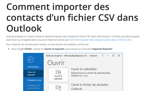Comment importer des contacts d'un fichier CSV dans Outlook