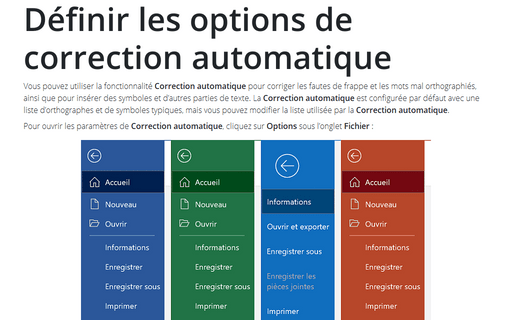 Définir les options de correction automatique