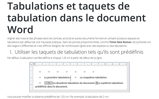 Tabulations et taquets de tabulation dans le document Word